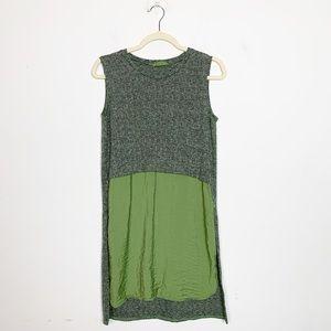 Cut Loose Mixed Media Sleeveless Tunic Top Green